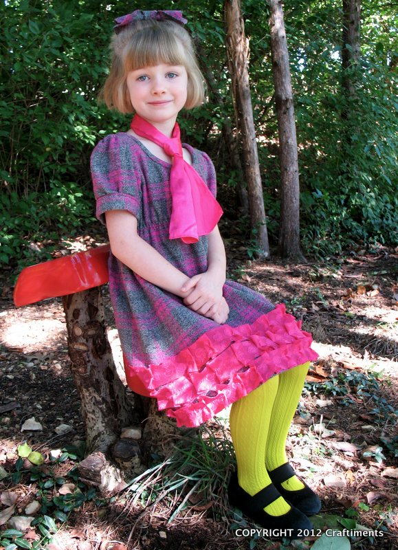 Craftiments:  Plaid flannel dress with bias cut pleated ruffles