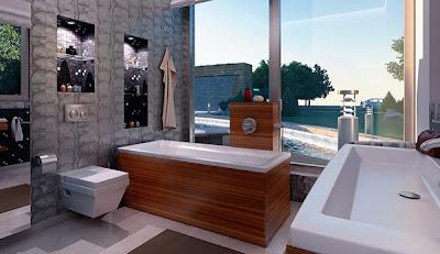Gambar Desain Dinding Kamar Mandi Modern Minimalis Model Terbaru