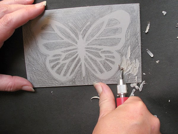 Cutting the lino block