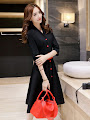 Three Quarter Sleeve Red Button & Belt Flare Black Dress