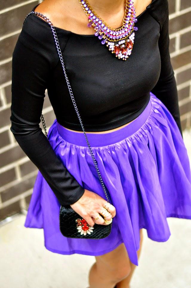 Purple Shirred Skirt