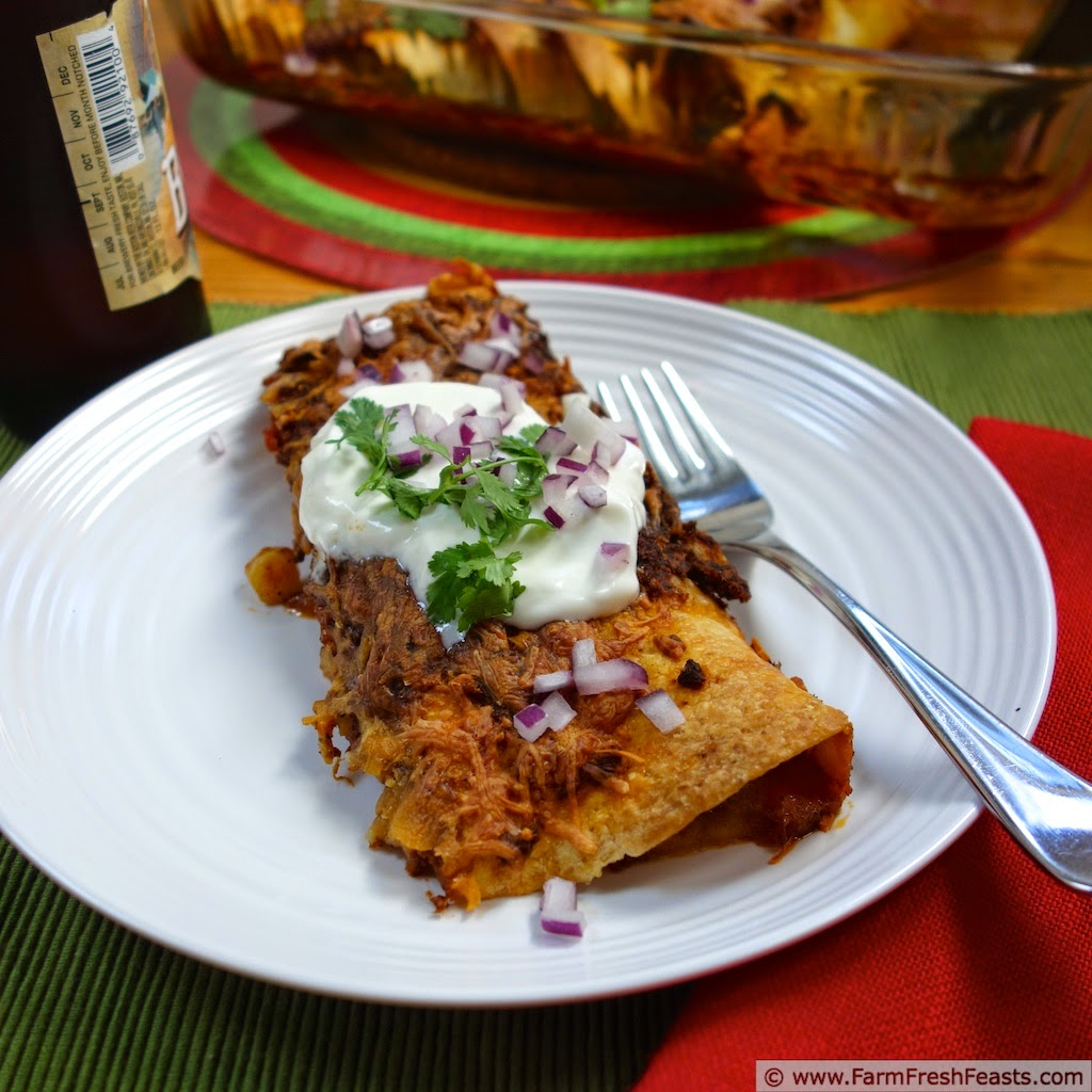 ... , flavored with green chiles and slow-roasted tomato enchilada sauce