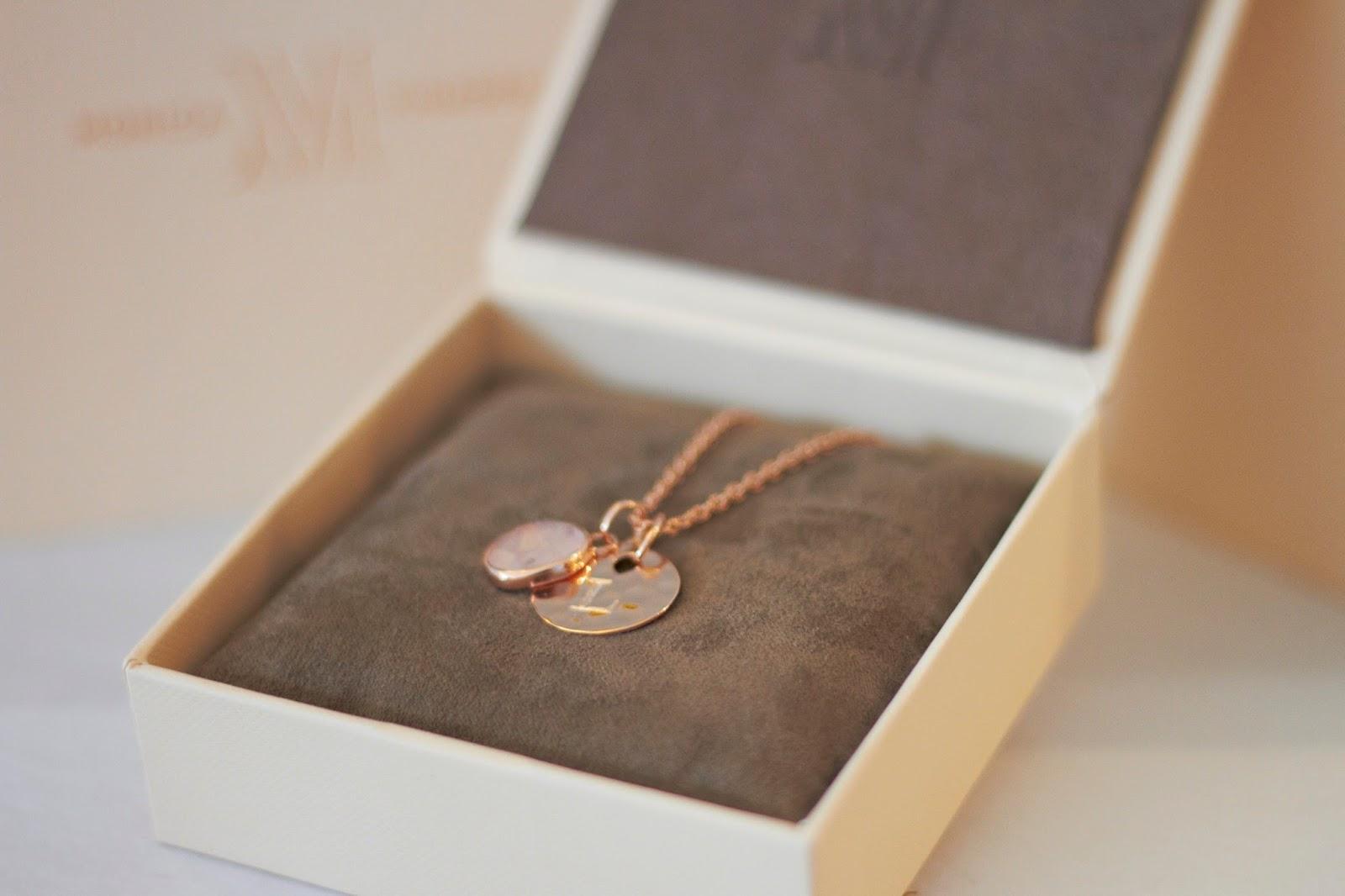 Monica Vinader jewellery rose gold rose quartz necklace engraved