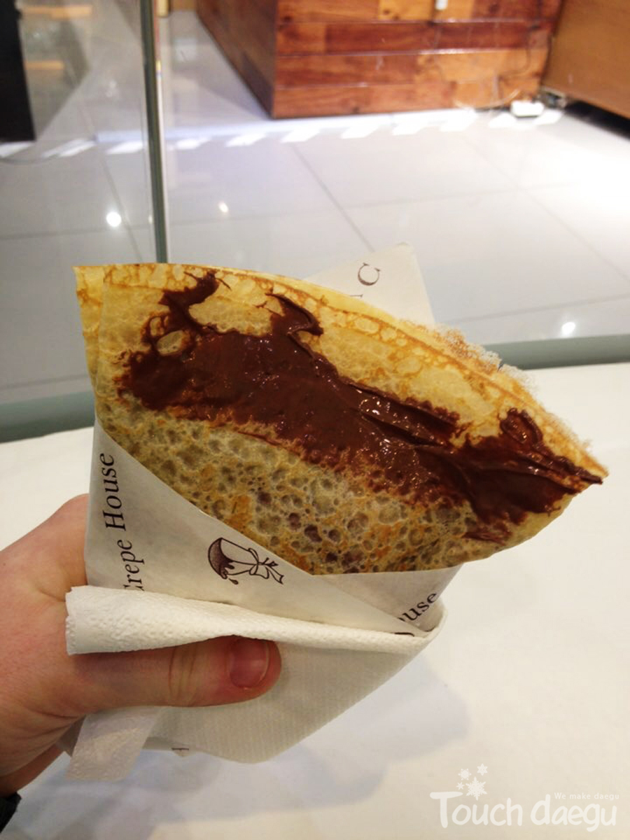 A crepe filled chocolate cream