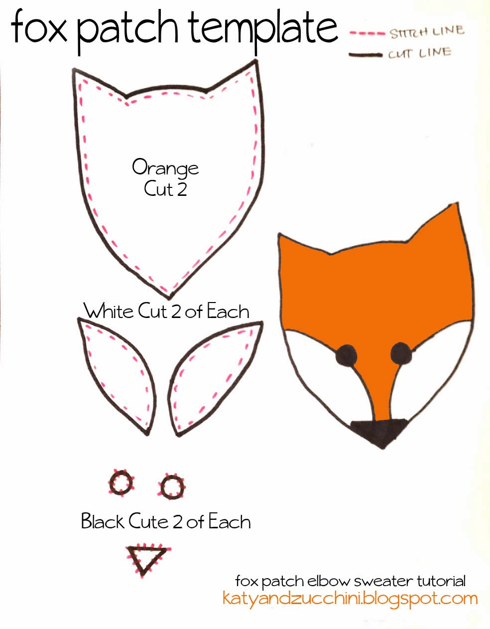 Next cut out your pieces use the fox face template as a for Template of a fox