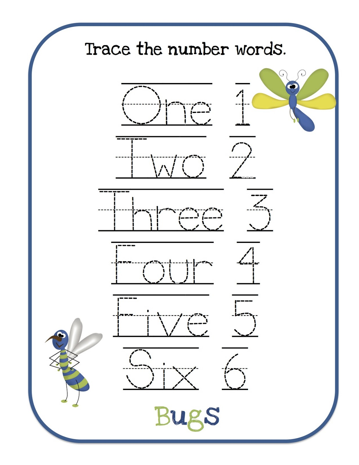 Trace the number words 1-12 large font 90