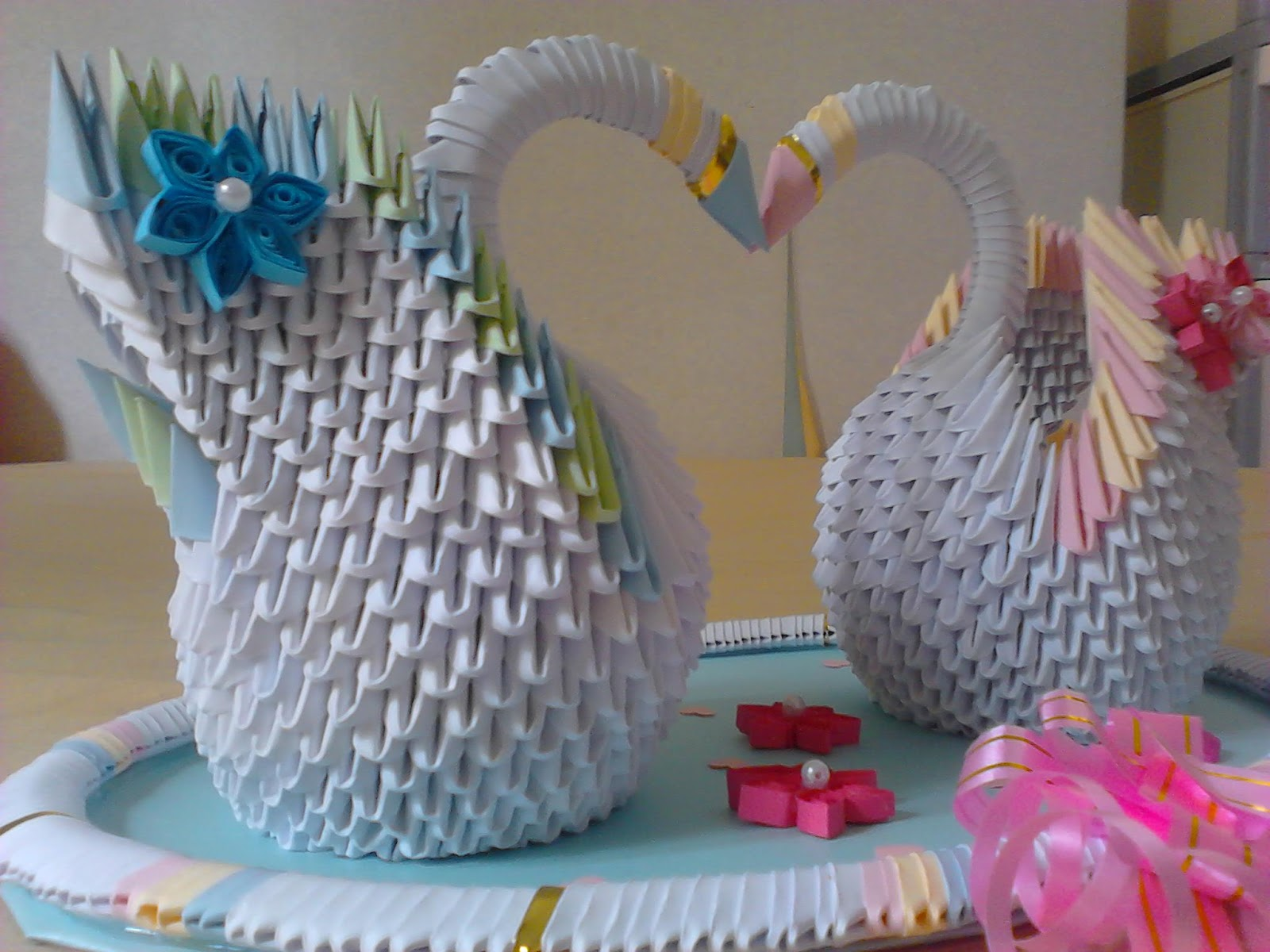 jewellia handicrafts 3d origami wedding swans