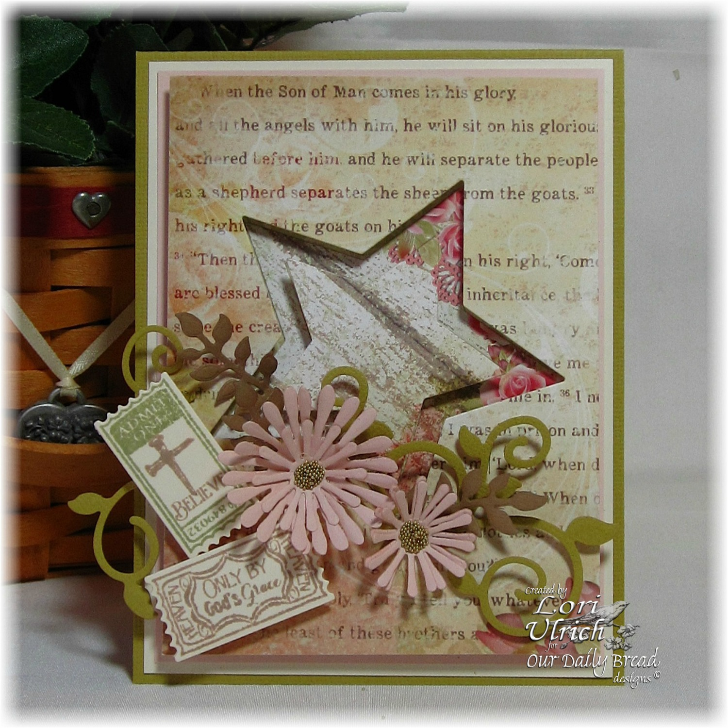Stamps - Our Daily Bread Designs Admit Three, Admit One, ODBD Custom Mini Tags Dies, ODBD Custom Sparkling Stars Dies, ODBD Custom Fancy Foliage Die, ODBD Custom Asters and Leaves Die, ODBD Blushing Rose Paper Collection
