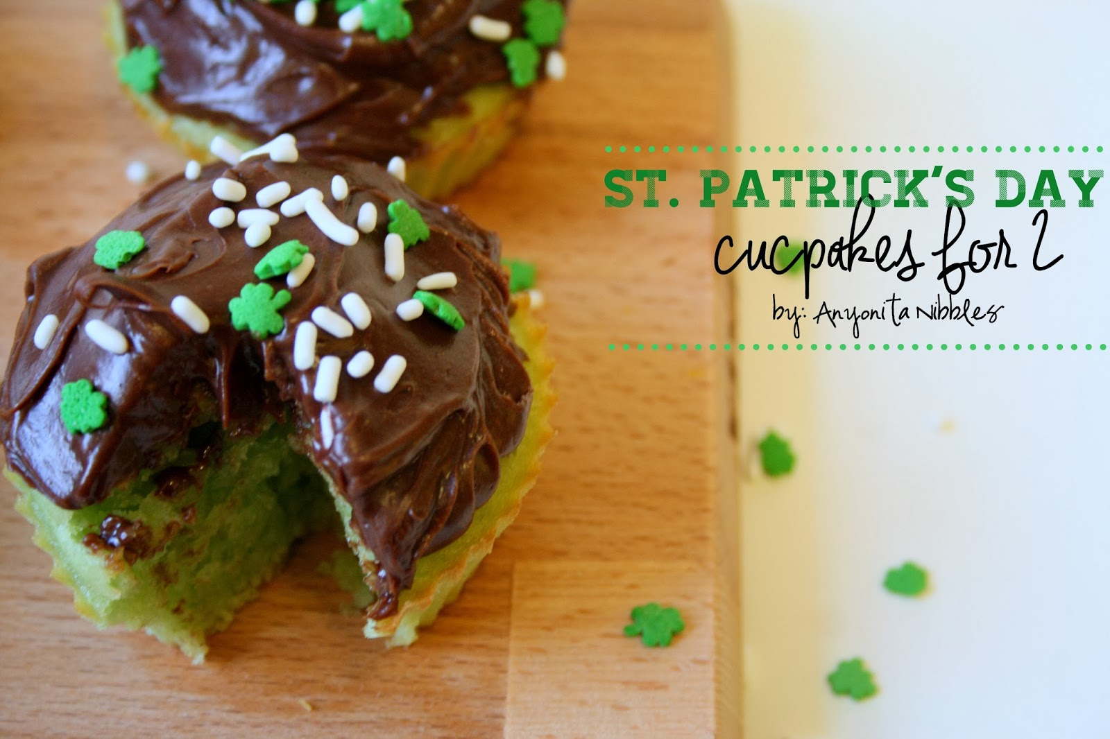 Easy St Patrick's Day Cupcakes for Two. Indulge without ruining your diet! This recipe from Anyonita Nibbles bakes only 4 cupcakes!