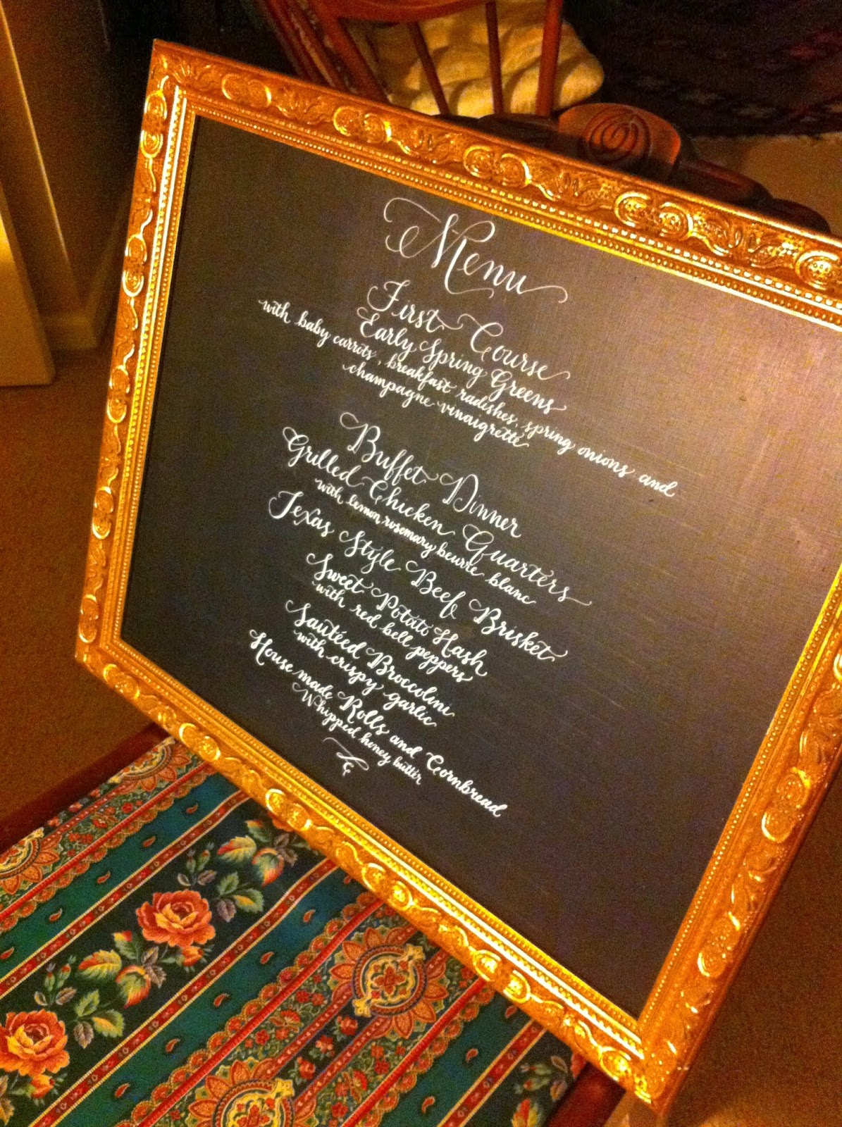 custom calligraphy wedding menu