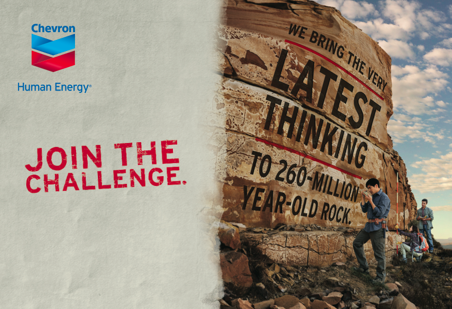 """chevron human energy campaign The human cost of energy: chevron's continuing role in financing oppression and profiting poration unveiled its vast new """"human energy"""" advertising campaign."""