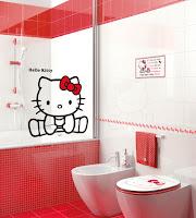baños decorados con hello kitty