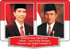 Selamat Atas Dilantiknya Jokowi-Jusuf Kalla Sebagai Presiden dan Wakil Presiden RI ke-7