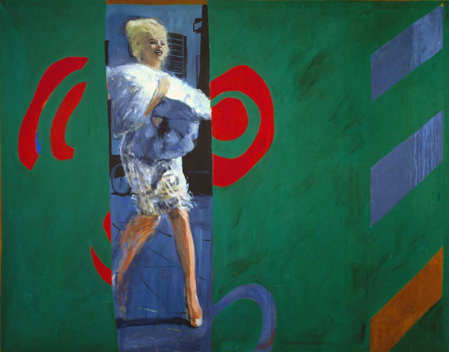 Painting of Marilyn Monroe on a green canvas
