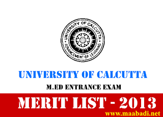 University of Calcutta M.Ed Entrance Exam Results 2013