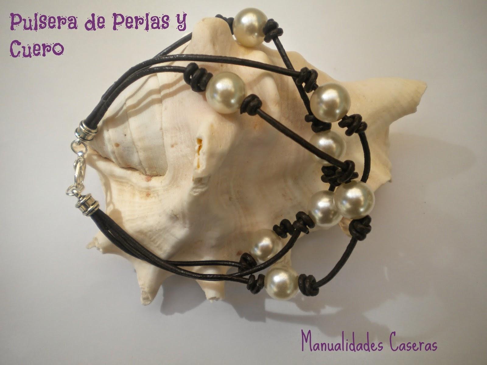 Pulsera De Cuero Y Perlas Manualidades Caseras Inma - Pulseras-de-cuero-originales
