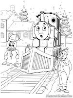 Kereta Thomas Bergerak Melintasi Rel Yang-Bersalju