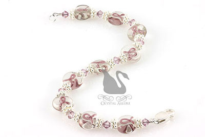 Purple Ribbon Cystic Fibrosis Awareness Bracelet (B110)