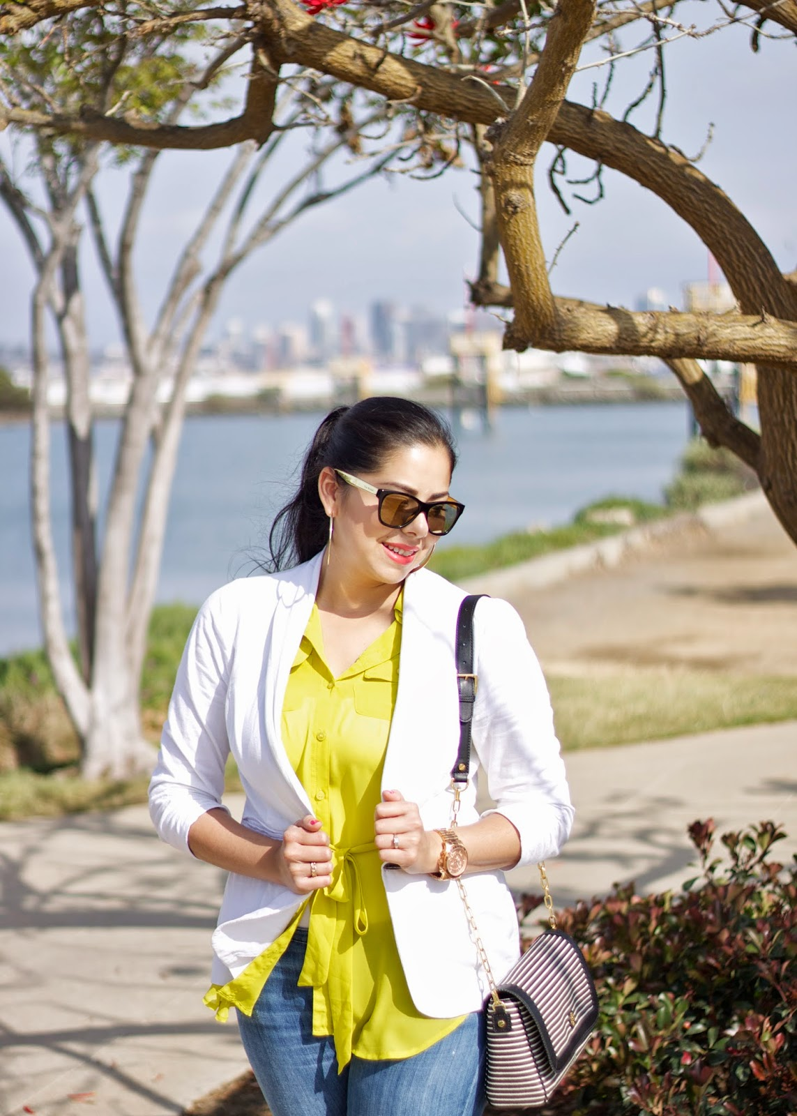 White and Yellow Outfit, White Blazer and yellow top, walking around Liberty Station, Liberty Station San Diego, Downtown San Diego