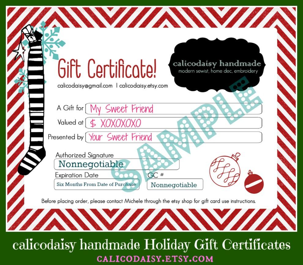 calicodaisy  calicodaisy handmade gift certificates