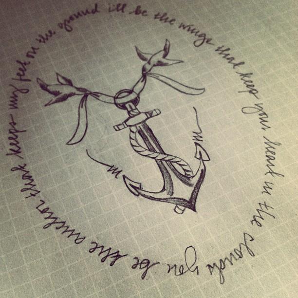 Tatuagem de Ancora e Moldura de Frase