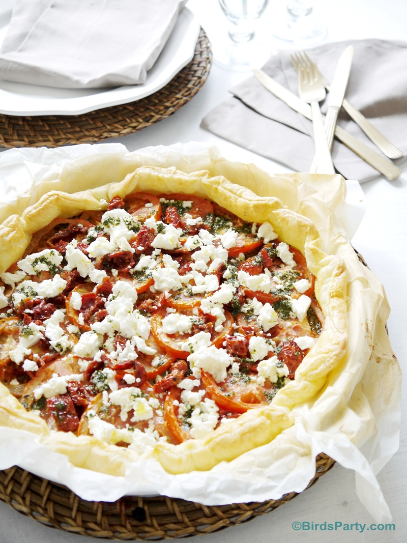 Brunch Ideas: Super Easy Pesto, Tomato & Feta Tart Recipe