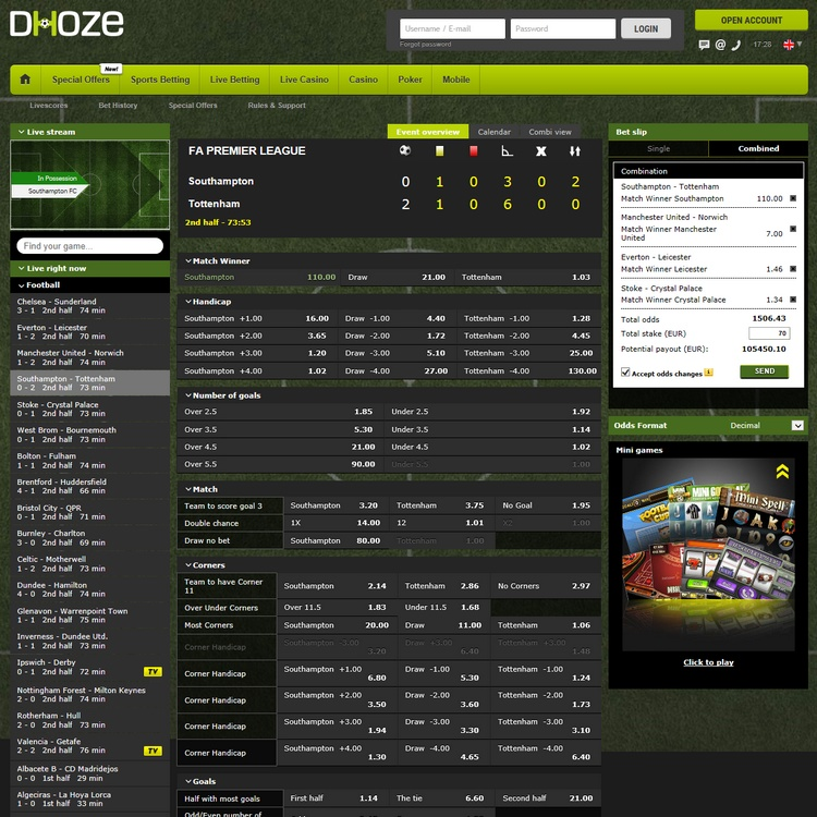 Dhoze Live Betting Offers