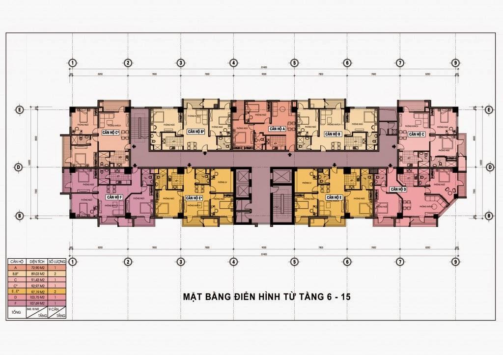 Thiết kế mặt bằng tầng 6 - 15 chung cư Diamond Blue