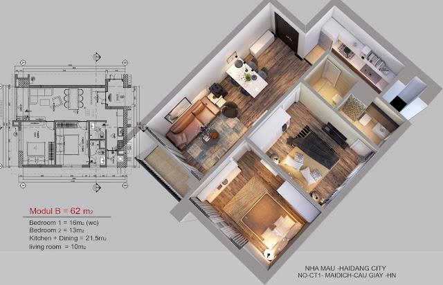 Mặt bằng căn hộ 0505 tòa CT1A chung cư Hải Đăng City