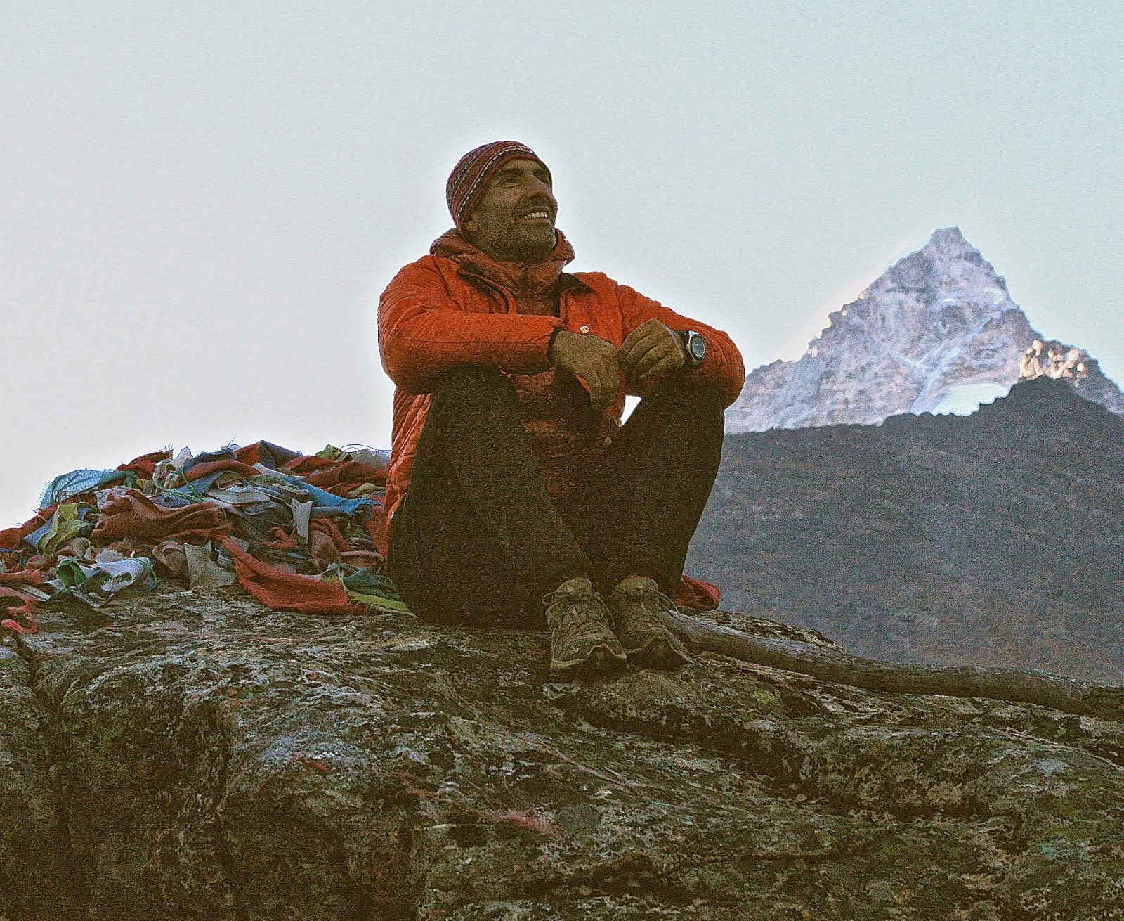 Matt Fioretti eyeing the South Ridge of Cholatse