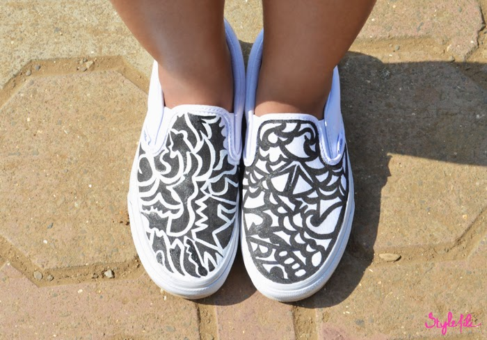 black, white, design, art, self made, DIY, paint, sketch, free hand, VANS, style file india