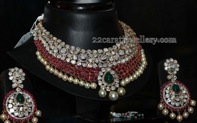 2 Rows Ruby Polki Set and Chandbalis
