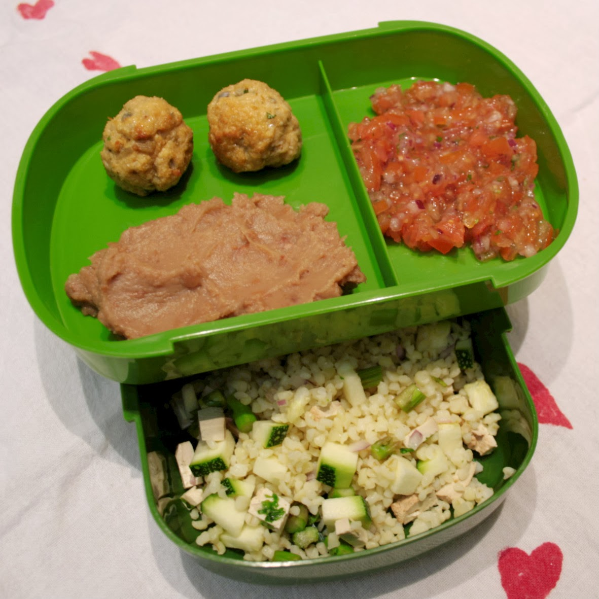 turkey meatballs for lunch in my green bento box - tukey meatballs, bulgar wheat salad, homemade salsa and refried beans