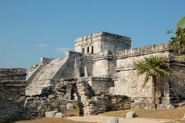 Picture of the Main Temple of the Descending God at the Tulum Ruins in Mexico