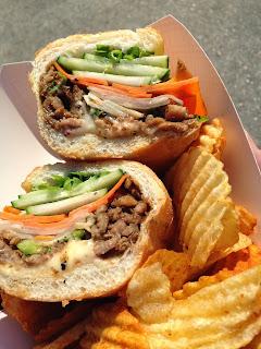 MuSuBi Bahn Mi with pork tenderloin, duck pate, truffle aioli, and wasabi potato chips