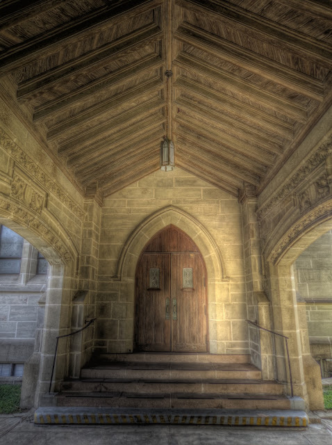 side door to St. Paul's United Methodist Church - Houston Texas