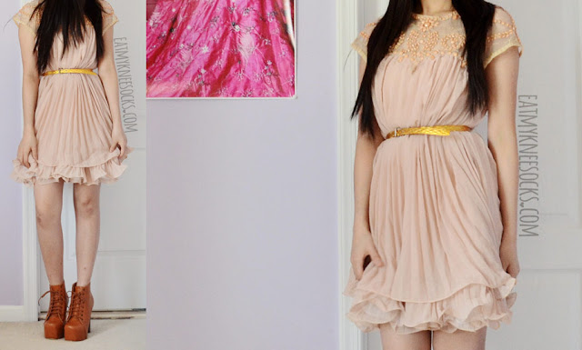 A romantic spring/summer/autumn outfit, with the ulzzang-style kfashion beaded ruffled pleated shift dress from SheIn and brown Jeffrey Campbell Lita platform heeled booties dupes.