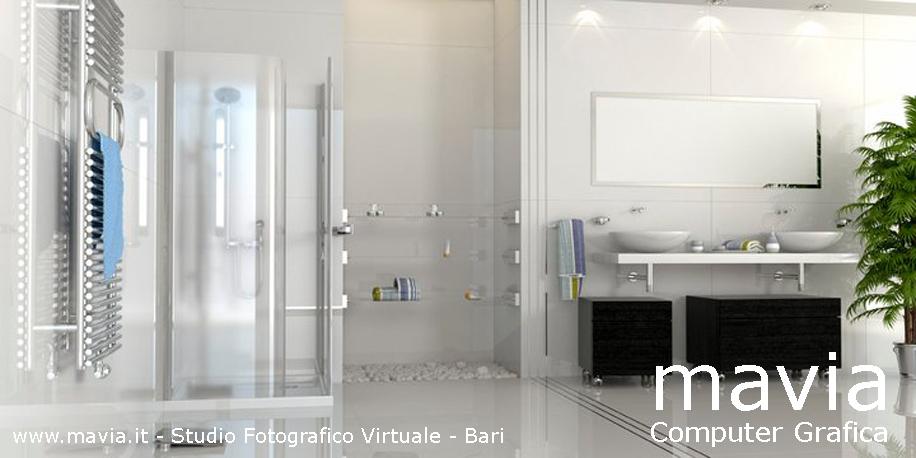 Esterni 3d rendering 3d architettura 3d bagni in muratura - Bagno moderno in muratura ...