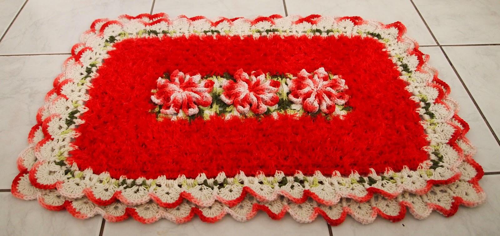 os croches da elsa tapete peludinho   flor bico de papagaio