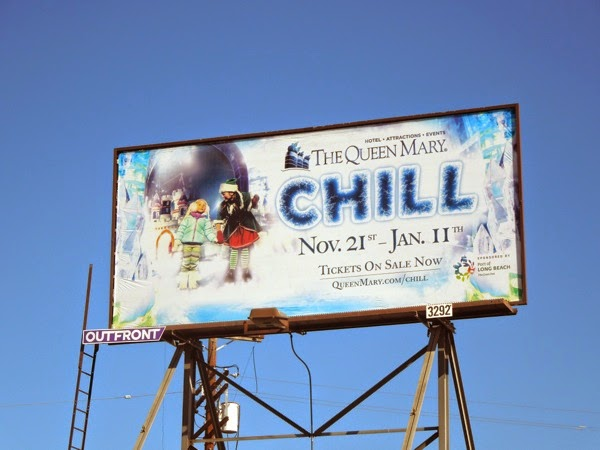 Queen Mary Chill Christmas experience billboard