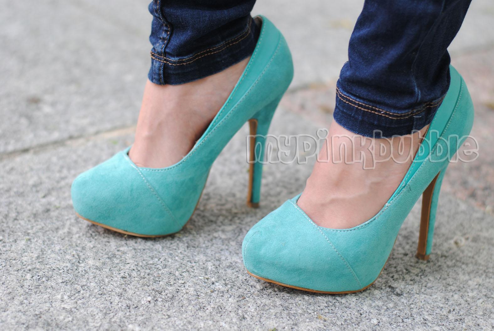 zapatos tacon azul celeste