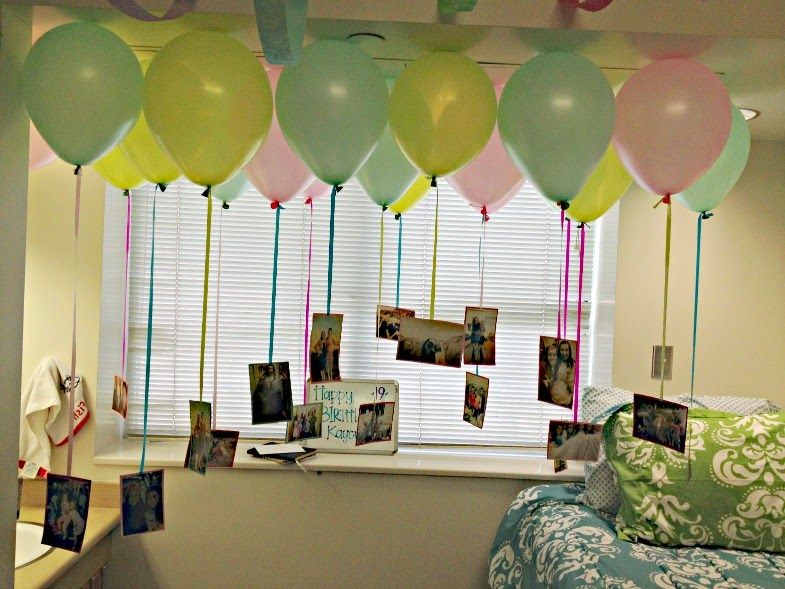 Balloon decoration for birthday in room image for Room decor ideas for husband birthday