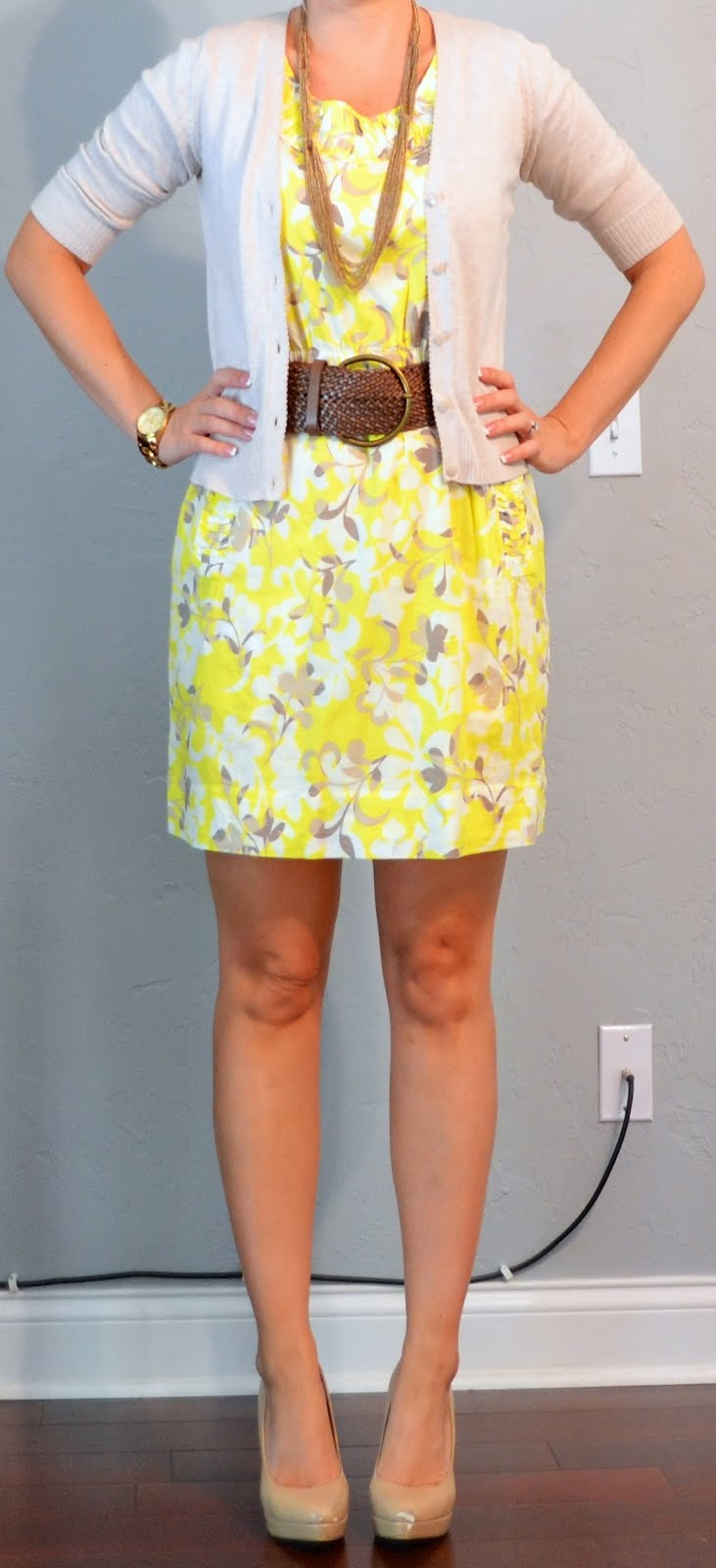 Outfit Posts outfit post yellow dress tan cardian wide belt