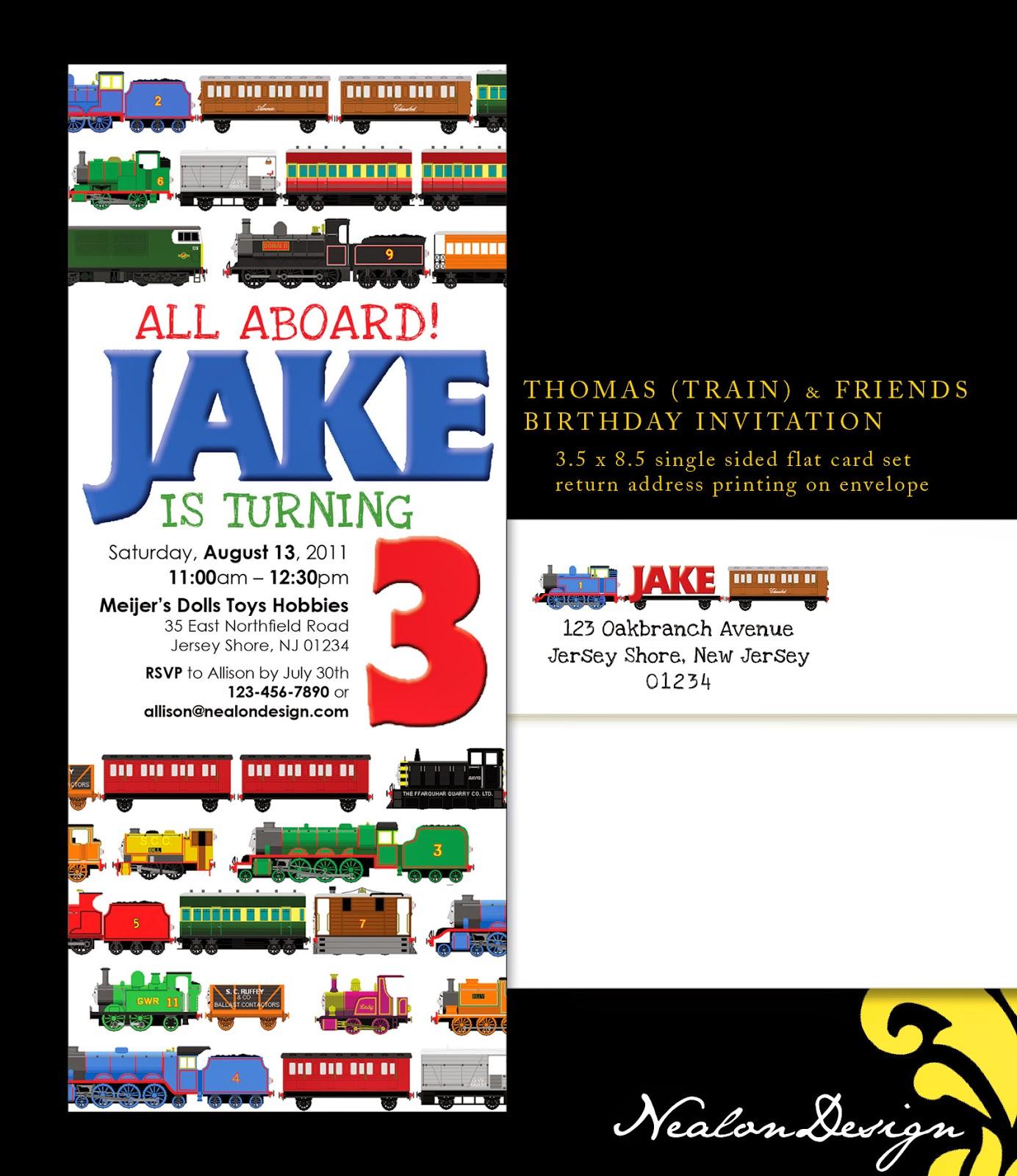 Nealon Design: Thomas & Friends TRAIN Birthday INVITATION