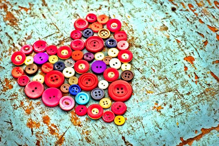 botões, coloridos, costura, coração