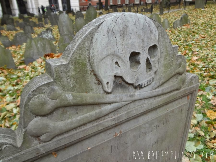 Skull engraving on tombstone in Granary Burying Ground
