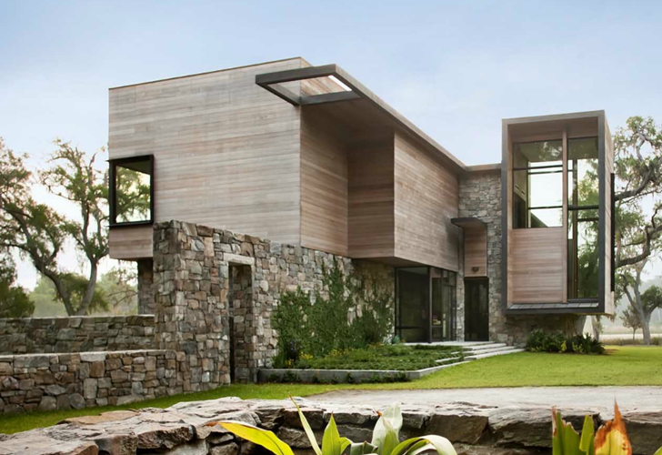 Modern house design by james choate architecture for Modern stone houses architecture