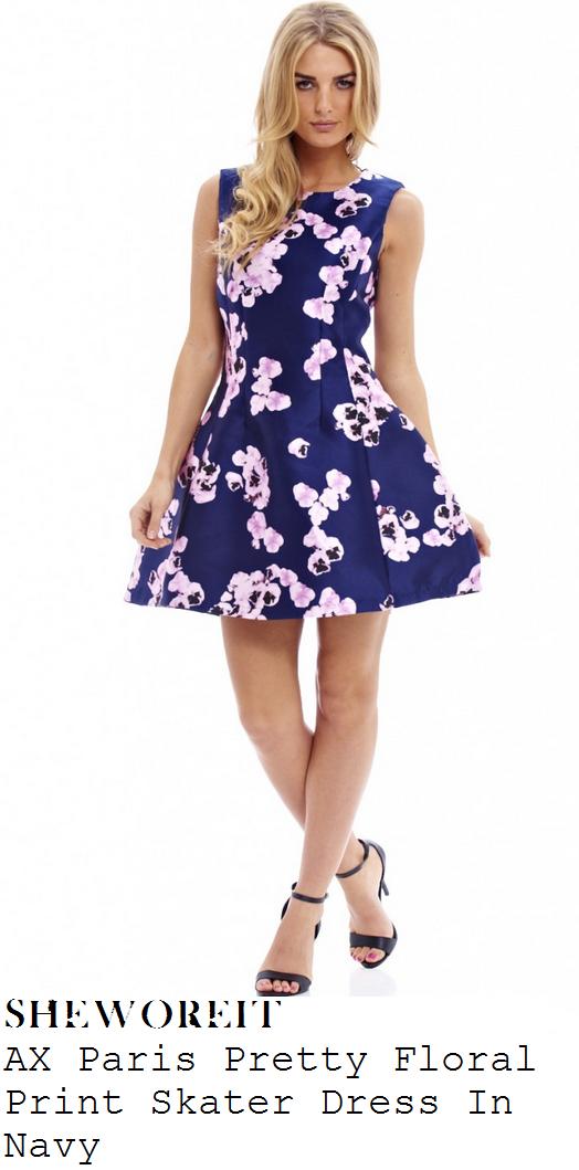 vicky-pattison-navy-pink-floral-print-skater-dress