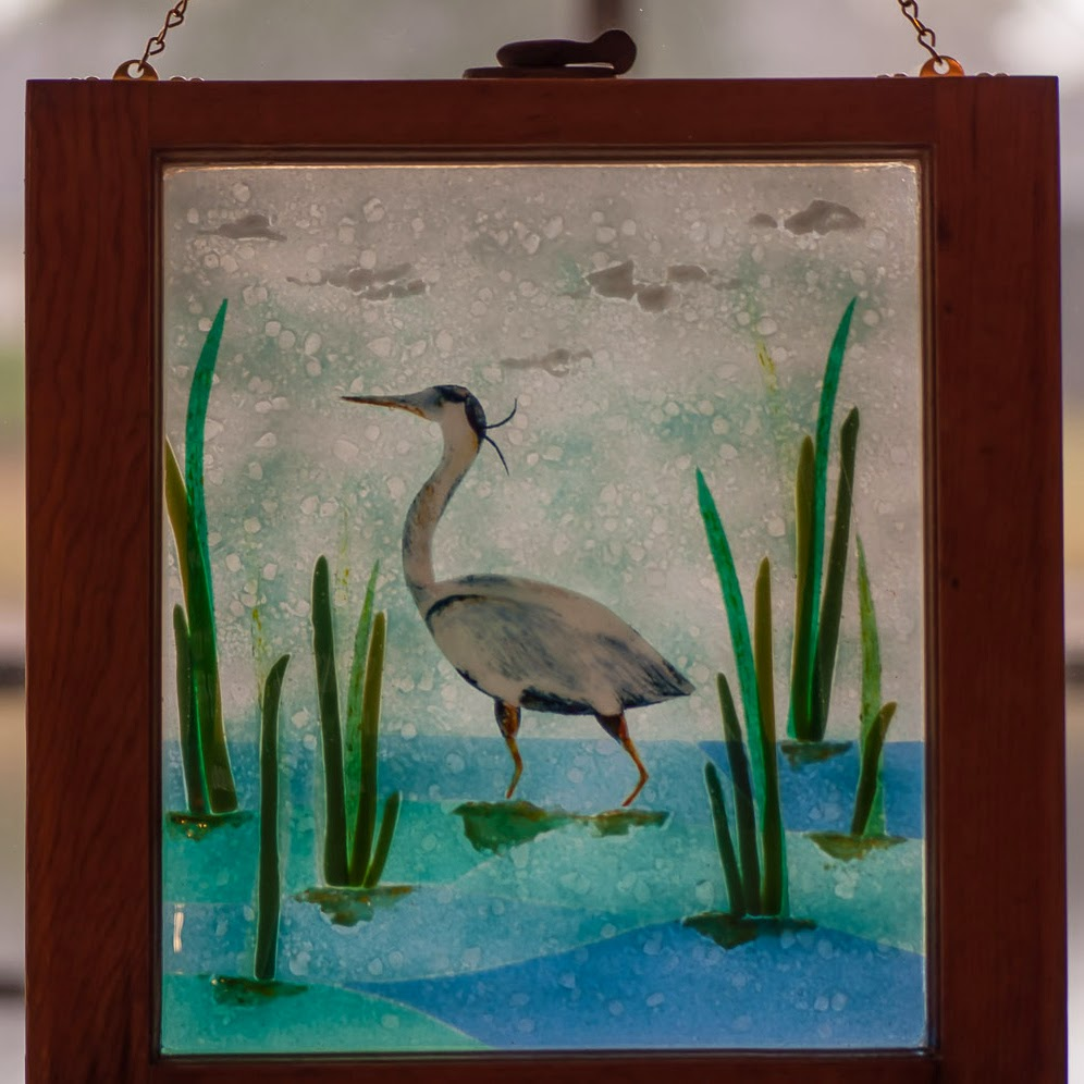 Fused Glass Great Blue Heron Egret Marsh Antique Stained Window Tidal Swamp Recycled Upcycled Frame
