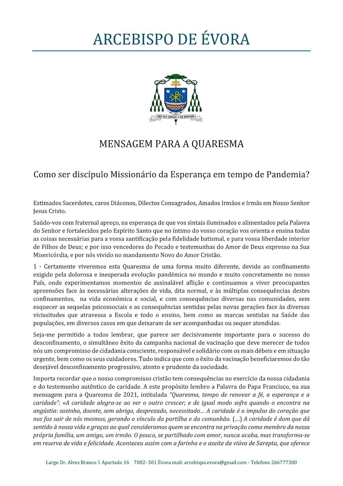MENSAGEM PARA A QUARESMA - 1/3